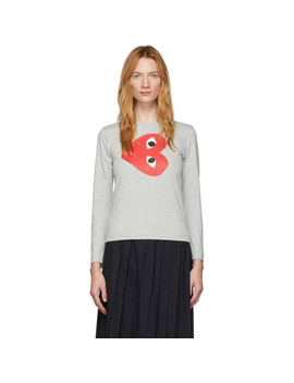 Grey Horizontal Heart Long Sleeve T Shirt by Comme Des GarÇons Play