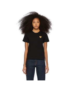 Black & Gold Heart Patch T Shirt by Comme Des GarÇons Play