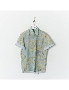True Vintage Clothing Vintage Patterned Shirt Blue/Beige Large by True Vinage Clothing