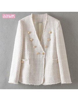 Fringe Buttoned V Neck Weave Tweed Jacket Women's Temperament Casual Top Spring Fragrance Woman Jacket by Ali Express.Com