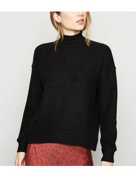 Black Brushed High Neck Jumper by New Look