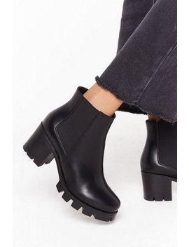 Wide Fit Cleated Chelsea Boots by Nasty Gal
