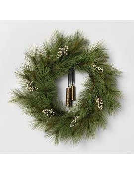 "24"" Faux White Pine Wreath With Metal Bell   Hearth & Hand™ With Magnolia by Hearth & Hand With Magnolia"