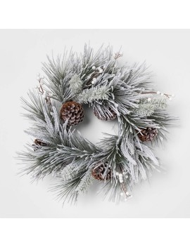 "22"" Artificial Flocked Pine Wreath With Berries And Pine Cones Green/White   Threshold™ by Shop This Collection"