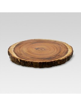 "15"" Acacia Wood Round Serving Platter Brown   Threshold™ by Shop Collections"