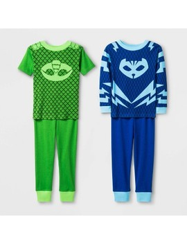 Toddler Boys' 4pc Pj Mask Pajama Set   Blue/Green by Pj Masks