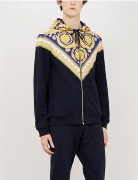 Baroque Print Panelled Cotton Jersey Hoody by Versace