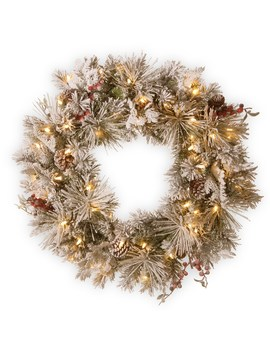 "30"" Snowy Bedford Pine Wreath With Cedar Leaves, Red Berries, Mixed Cones & 70ct. Warm White Battery Operated Led Lights With Timer by National Tree Company"
