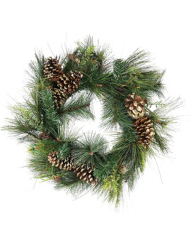 "30"" Mixed Pine With Pinecones & Gold Glitter Artificial Wreath by Northlight"