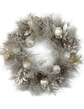 "24"" Champagne Gold Apples & Pine Cones Wreath, Unlit by Northlight"