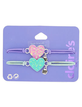 Holographic Heart Stretch Friendship Bracelets   2 Pack by Claire's