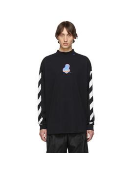 T Shirt à Manches Longues Et Col Cheminée Noir Diagonal Thermo by Off White