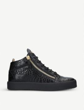 Kriss Croc Embossed Patent Leather High Top Trainers by Giuseppe Zanotti