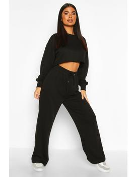 Petite Crop Sweat And Jogger Loungewear Set by Boohoo