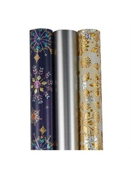 Papyrus Gift Wrap Bundle Gold &Amp; Blue Snowflake Set Of 3 by Papyrus