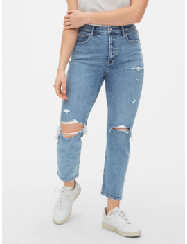 High Rise Destructed Cigarette Jeans With Secret Smoothing Pockets by Gap