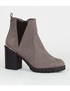 Wide Fit Grey Suedette Cleated Ankle Boots by New Look