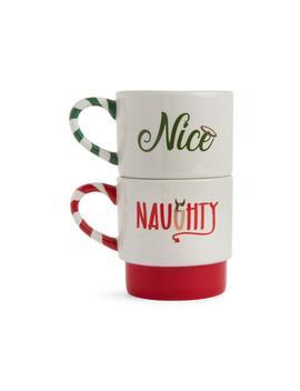 Naughty And Nice Stacked Mug Set by Primark