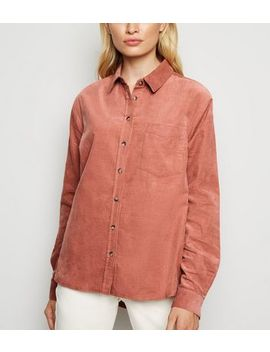 Pale Pink Corduroy Long Sleeve Shirt by New Look