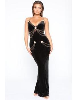 My Specialty Velvet Maxi Gown   Black by Fashion Nova