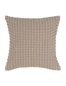 Taupe And Ecru Fringed Cotton Cushion Cover 40x40   Abaji by Maisons Du Monde