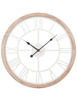 White And Natural Coloured Clock H50   Montroy by Maisons Du Monde