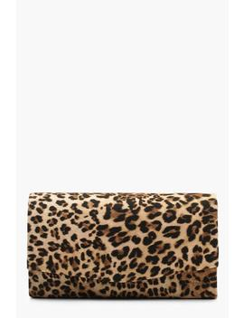 Structured Leopard Envelope Clutch Bag & Chain by Boohoo