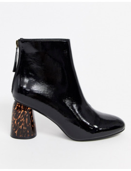 Glamorous Black Patent Boots With Leopard Heel by Glamorous