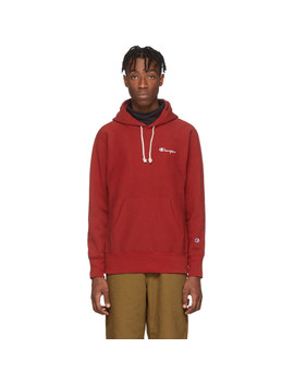 Red Small Script Logo Hoodie by Champion Reverse Weave