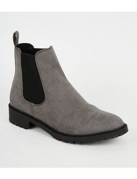 Grey Suedette Cleated Flat Chelsea Boots by New Look