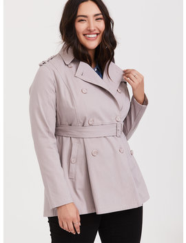 Lilac Purple Twill Trench Coat by Torrid
