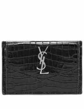 Uptown Croc Effect Leather Wallet by Saint Laurent