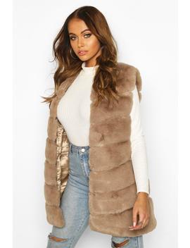 Longline Faux Fur Gilet by Boohoo