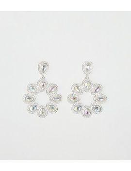 Silver Teardrop Gem Door Knocker Earrings by New Look