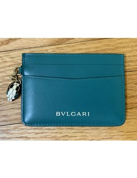 Green Dark Calf Leather Serpenti Forever Credit Card Holder Wallet by Bvlgari
