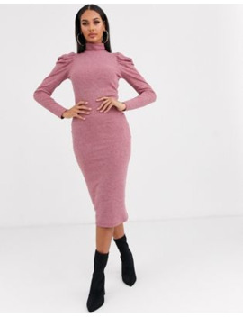 Asos Design Puff Sleeve Rib Midi Dress by Asos Design