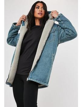 Petite Blue Denim Teddy Borg Lined Hooded Vintage Parker by Missguided
