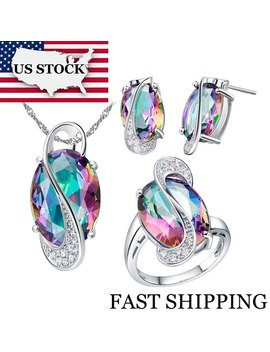 Usa Stock Uloveido Women Wedding Bridal Jewelry Set Crystal Brides Stud Earrings Big Ring Necklace Costume Jewelry Sets 50% T155 by Ali Express.Com