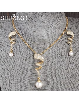 Shuangr Vintage Imitation Pearl Necklace Gold Jewelry Set For Women Clear Crystal Elegant Party Gift Fashion Costume Jewelry Set by Ali Express.Com