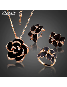 Fashion Rose Flower Enamel Jewelry Set Rose Gold Color Black Painting Bridal Jewelry Sets For Women Wedding 82606 by Ali Express.Com