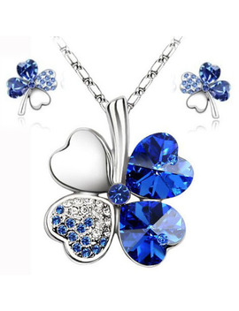 Hot Sale Lucky Clovers Necklace Jewelry Sets Austrian Crystal Necklace Earring Jewelry Set Lm S045 Drop Shipping by Ali Express.Com