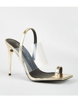 Gold Metallic Clear Strap Stiletto Mules by New Look