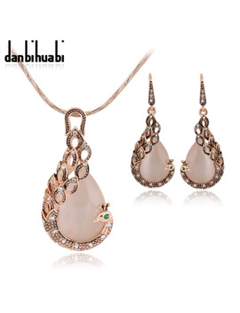 Jewelry Sets New Fashion Kc Rose Gold Filled Opal Crystal Peacock Necklace Earring Wedding Jewellery Set For Women by Ali Express.Com