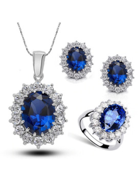 2019 New Mothers Day Mom Gifts Kate Royal Blue Crystal Necklace Earrings Ring Sets Wedding Bridesmaids Bridal Jewelry Set by Ali Express.Com