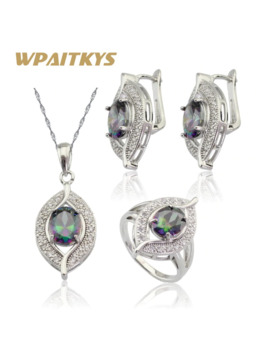 Wpaitkys Multicolor Rainbow Cubic Zirconia Silver Color Jewelry Sets For Women Hoop Earrings Pendant Necklace Rings Free Box by Ali Express.Com