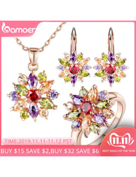 Bamoer Rose Gold Color Jewelry Sets For Women With High Quality Multicolor Aaa Zircon Wedding & Engagement Jewelry Zh017 by Ali Express.Com