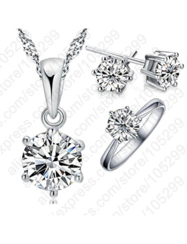 Woman's Birthday Gift Wedding Jewelry Set Fashion 925 Sterling Silver Crystal Necklace Ring Earring 3 Pcs Free Shipping by Ali Express.Com