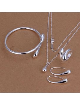 Factory Price Top Jewelry Silver Plated Drop Jewelry Sets Necklace Bracelet Bangle Earring Ring Free Shipping Smts222 by Ali Express.Com