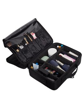 Karmas Product Makeup Train Case 3 Layers Portable Cosmetic Organizer Toiletries Storage Bag Backpack by Karmas Product
