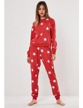 Red Star Print Long Sleeve Top And Bottoms Pyjama Set by Missguided